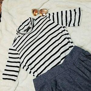 F21 Half Sleeve striped Shirt Mock turtle neck